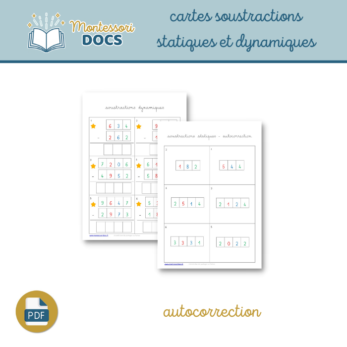 Cartes soustractions autocorrectives