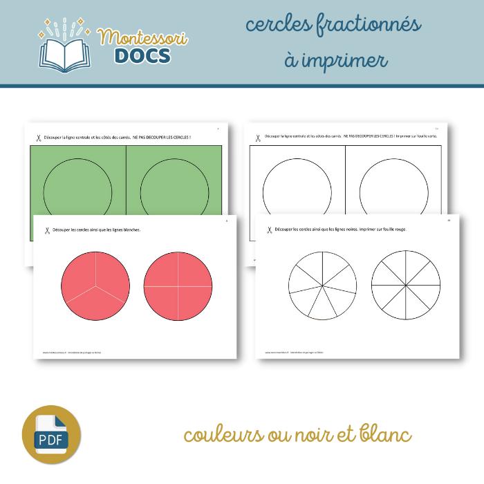 Cercles fractionnés à imprimer