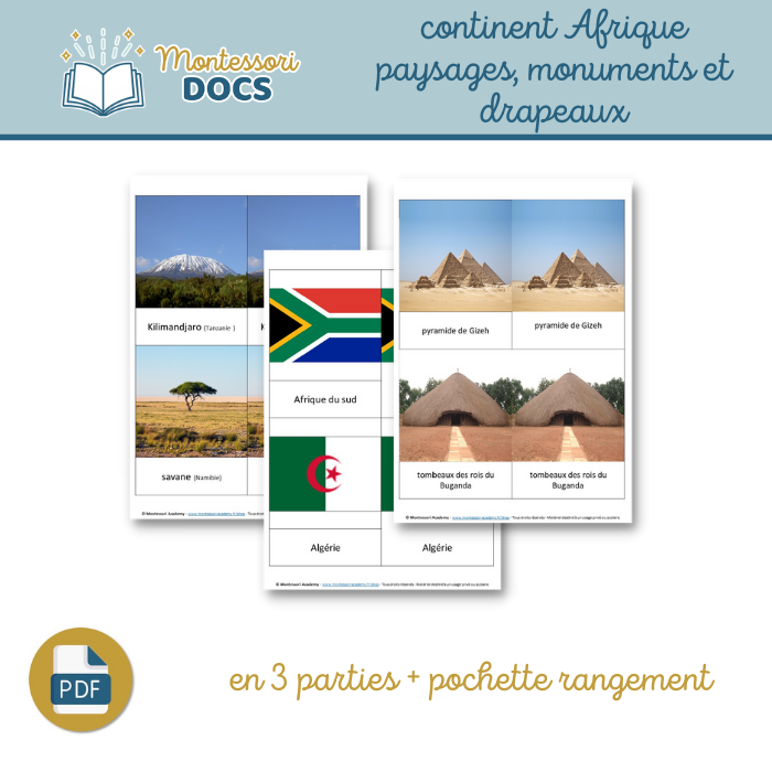 Continent Afrique – paysages, monuments et drapeaux