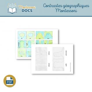 Contrastes géographiques Montessori à colorier